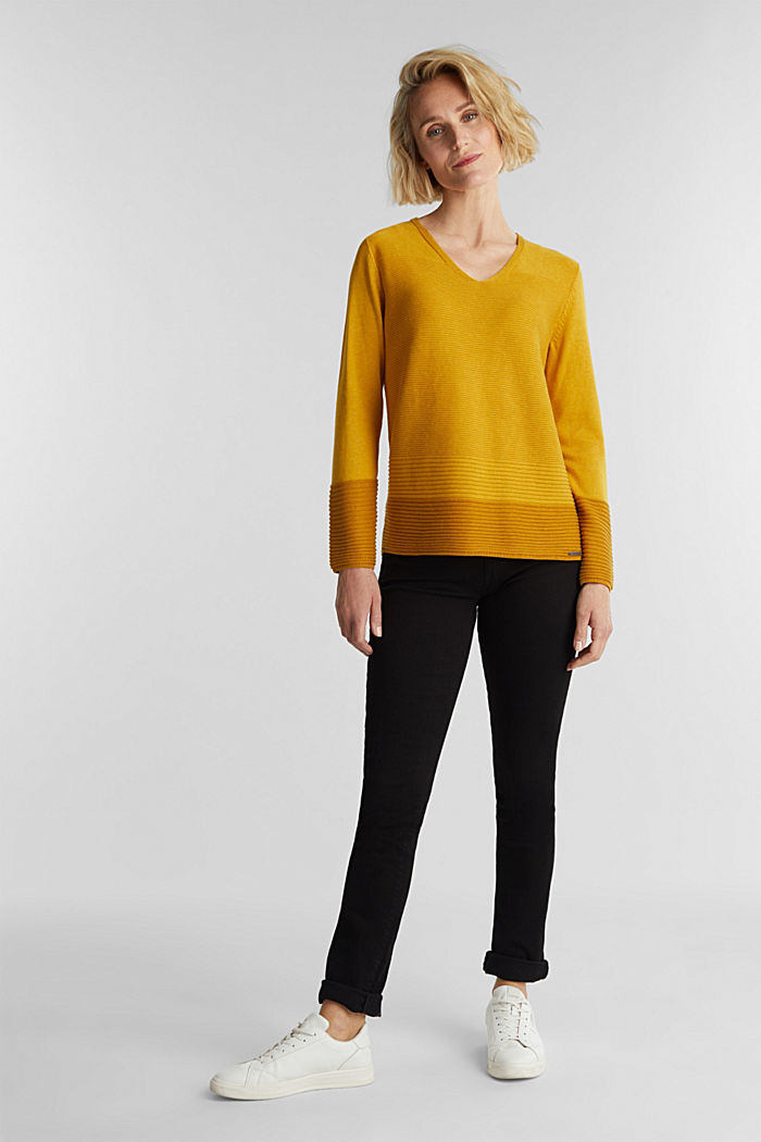 Color-Block-Pullover mit V-Neck, BRASS YELLOW, detail image number 1