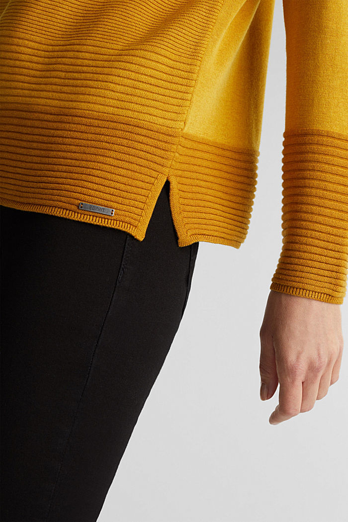 Color-Block-Pullover mit V-Neck, BRASS YELLOW, detail image number 2