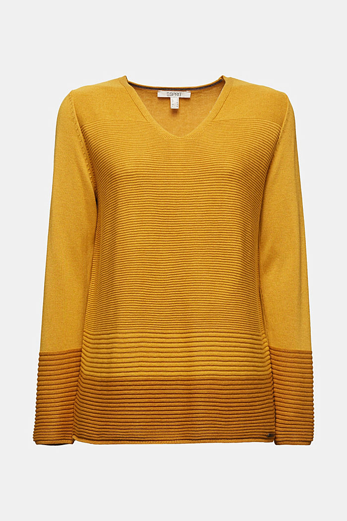 Color-Block-Pullover mit V-Neck, BRASS YELLOW, detail image number 5