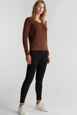 V-neck jumper made of organic cotton, BROWN 5, detail