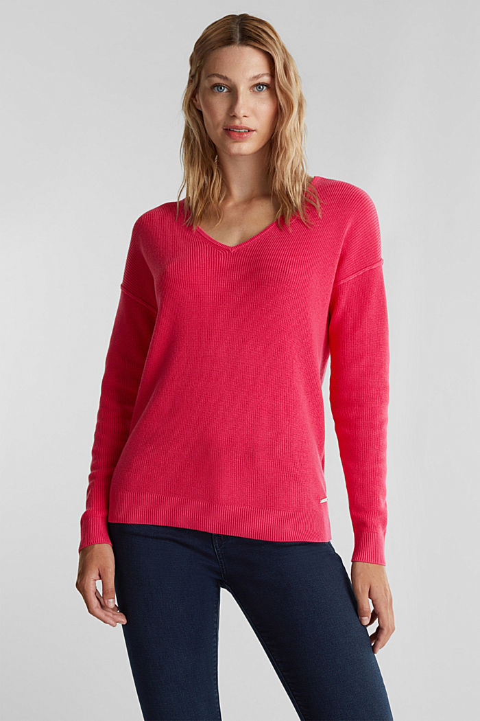 V-neck jumper made of organic cotton, PINK FUCHSIA, detail image number 0