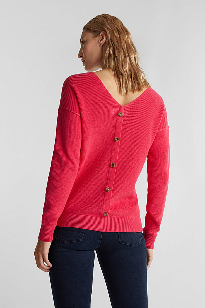 V-neck jumper made of organic cotton, PINK FUCHSIA, detail image number 3