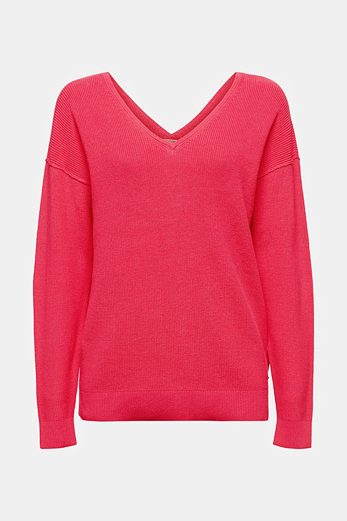 V-neck jumper made of organic cotton, PINK FUCHSIA, detail image number 5