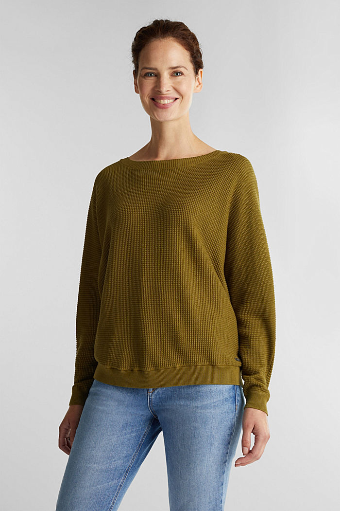 Batwing jumper with a texture, OLIVE, detail image number 0