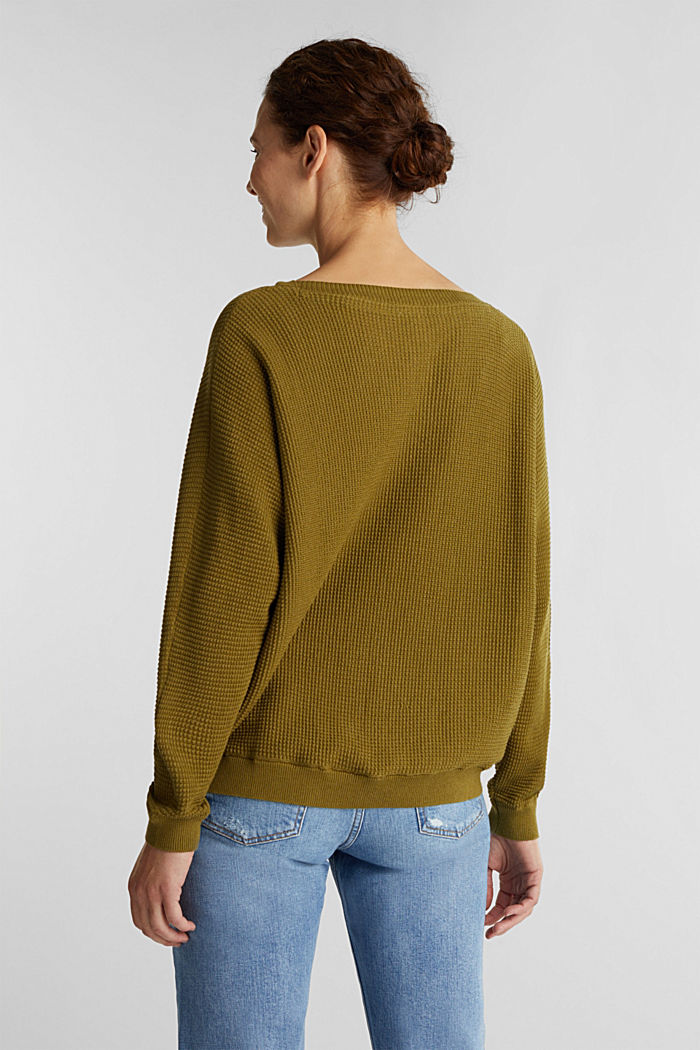 Batwing jumper with a texture, OLIVE, detail image number 3