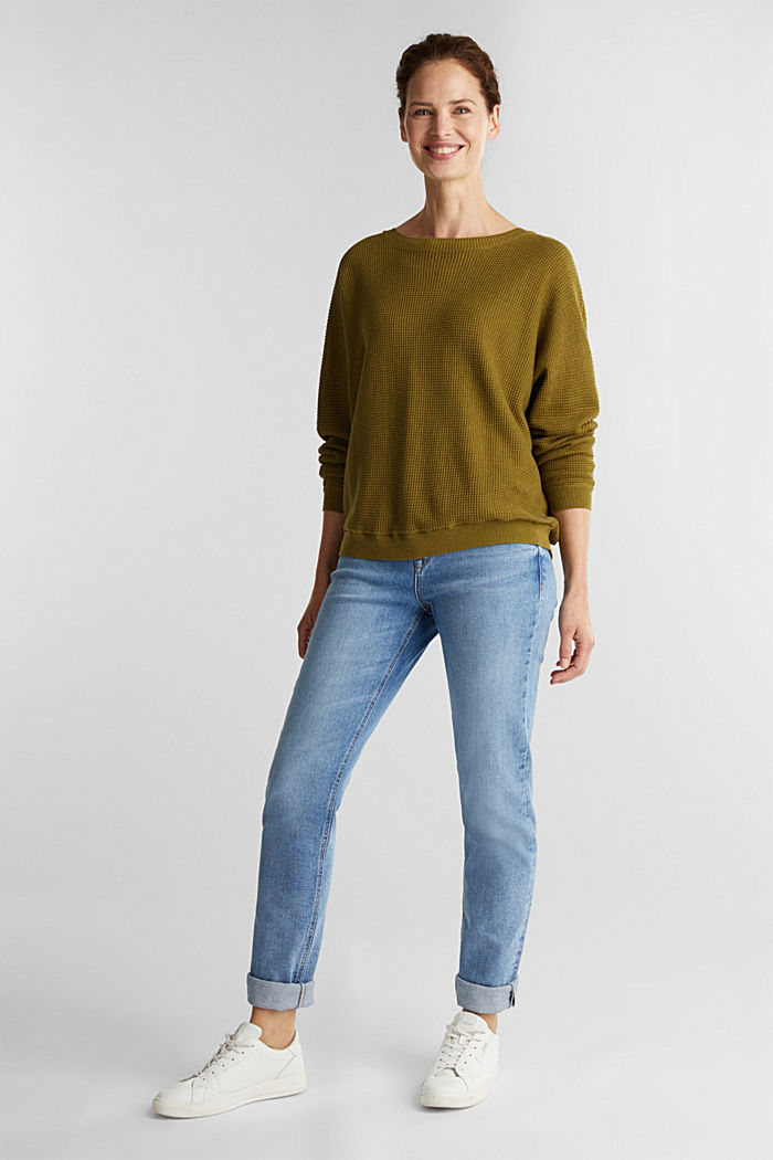 Batwing jumper with a texture, OLIVE, detail image number 1