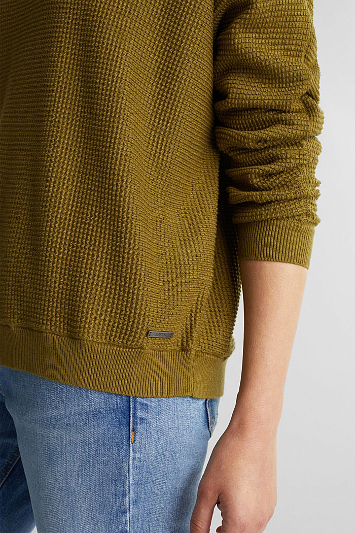 Batwing jumper with a texture, OLIVE, detail image number 2