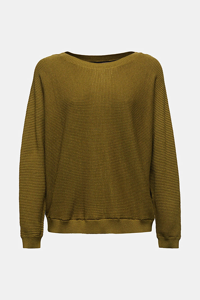 Batwing jumper with a texture, OLIVE, detail image number 6