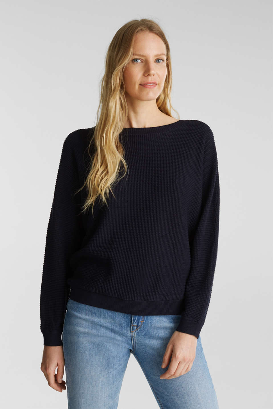 Esprit - Batwing jumper with a texture