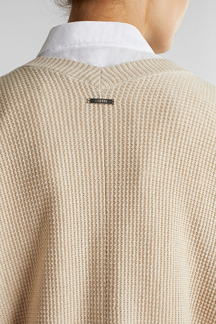 Textured cardigan with organic cotton, SAND, detail image number 2
