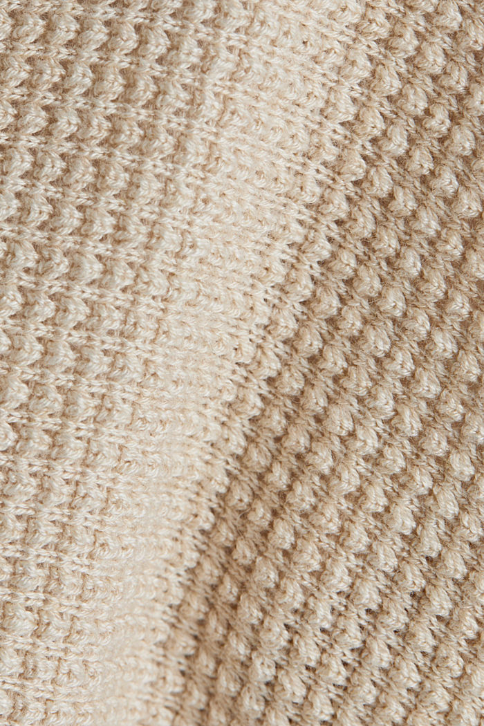 Textured cardigan with organic cotton, SAND, detail image number 4