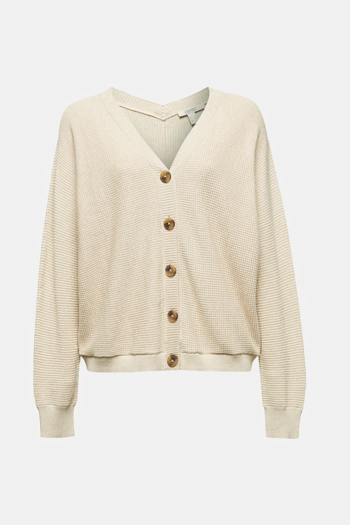 Textured cardigan with organic cotton, SAND, detail image number 7