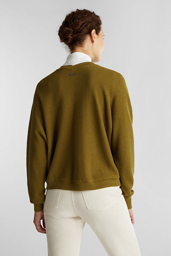 Textured cardigan with organic cotton, OLIVE, detail image number 3