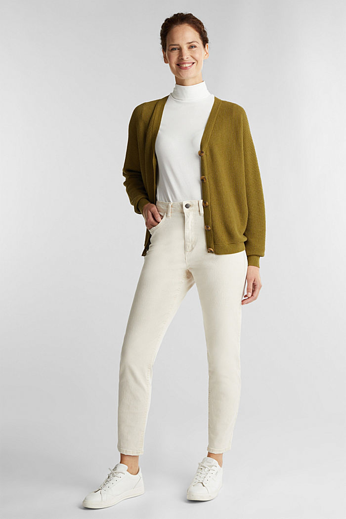 Textured cardigan with organic cotton, OLIVE, detail image number 1