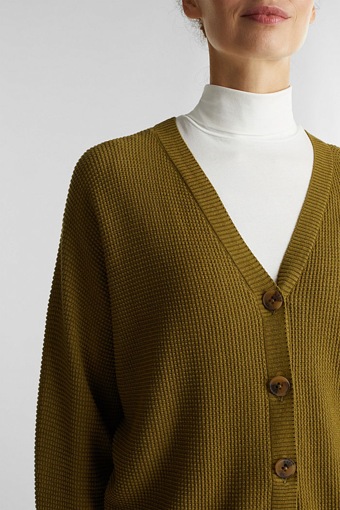 Textured cardigan with organic cotton, OLIVE, detail image number 2