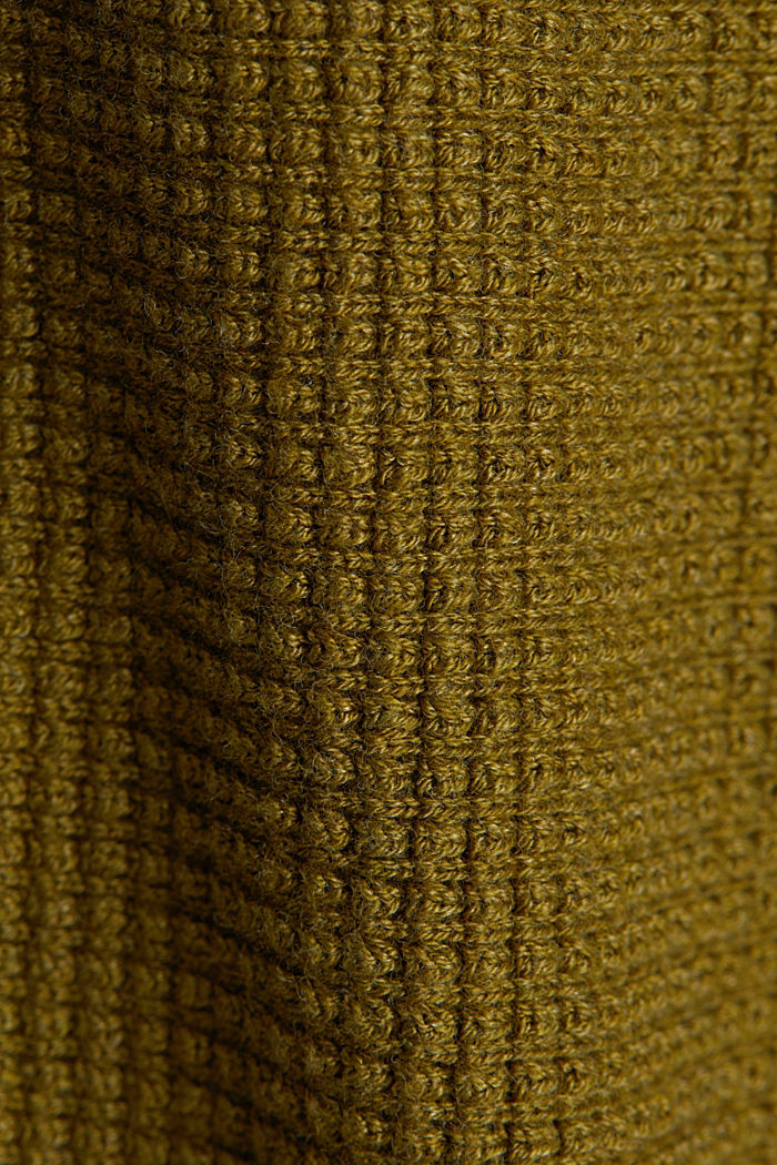 Textured cardigan with organic cotton, OLIVE, detail image number 4