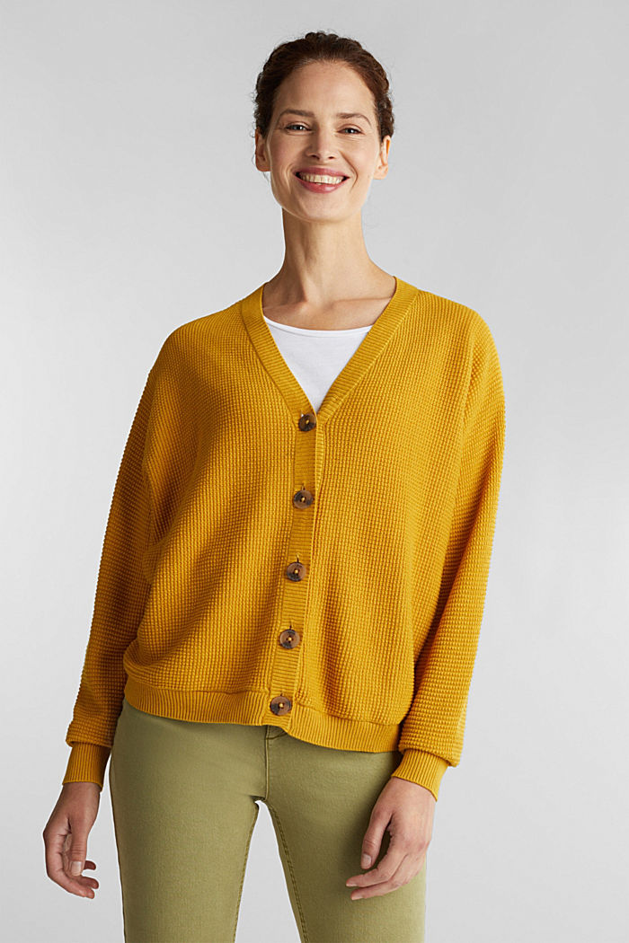 Textured cardigan with organic cotton, BRASS YELLOW, detail image number 0