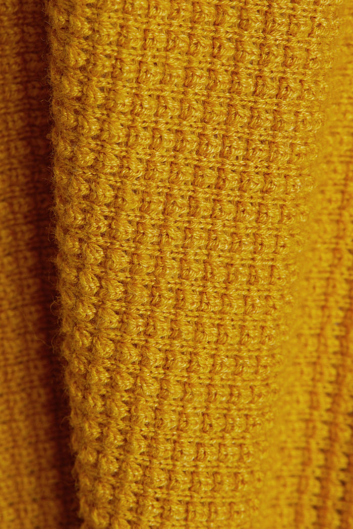 Textured cardigan with organic cotton, BRASS YELLOW, detail image number 4
