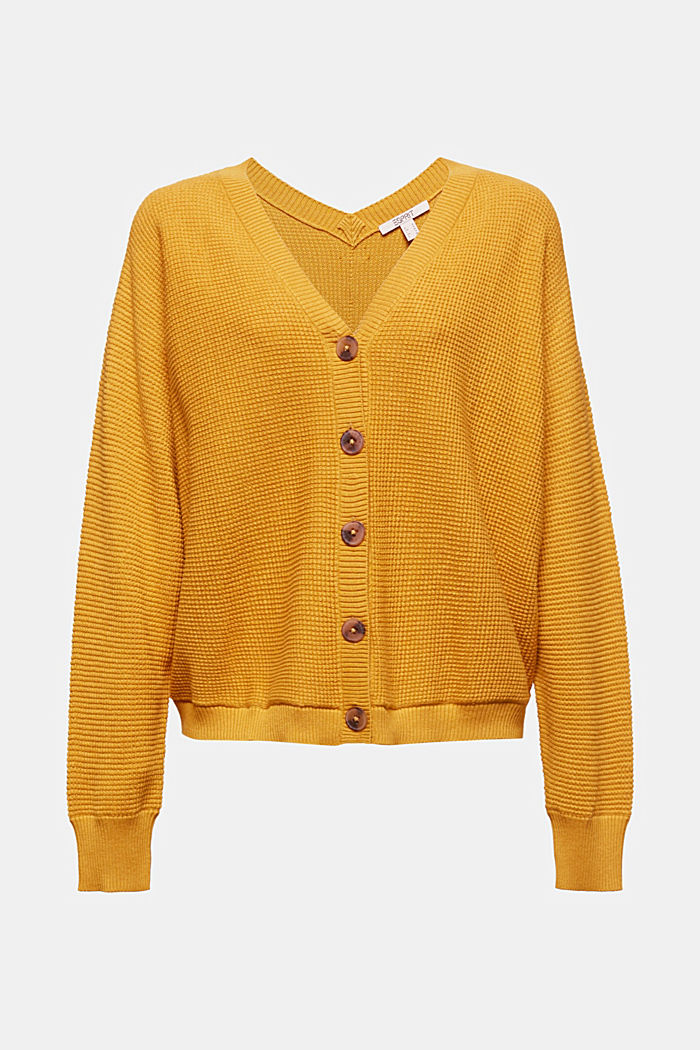 Textured cardigan with organic cotton, BRASS YELLOW, detail image number 5