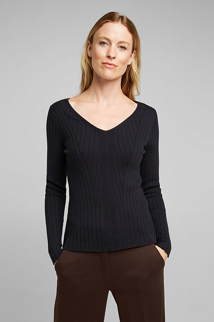 Ribbed jumper with organic cotton, BLACK, detail image number 0