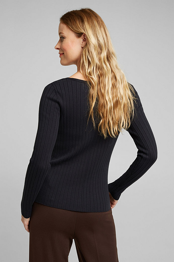 Ribbed jumper with organic cotton, BLACK, detail image number 2