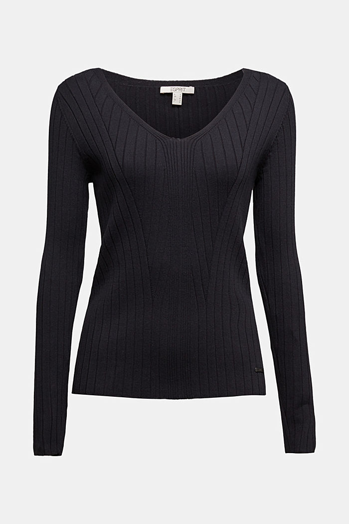 Ribbed jumper with organic cotton, BLACK, detail image number 6
