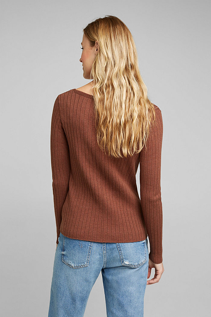 Ribbed jumper with organic cotton, BROWN, detail image number 3