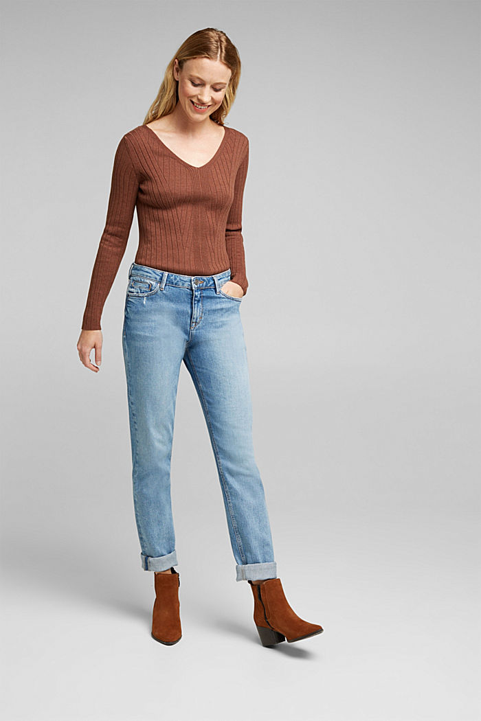 Ribbed jumper with organic cotton, BROWN, detail image number 1