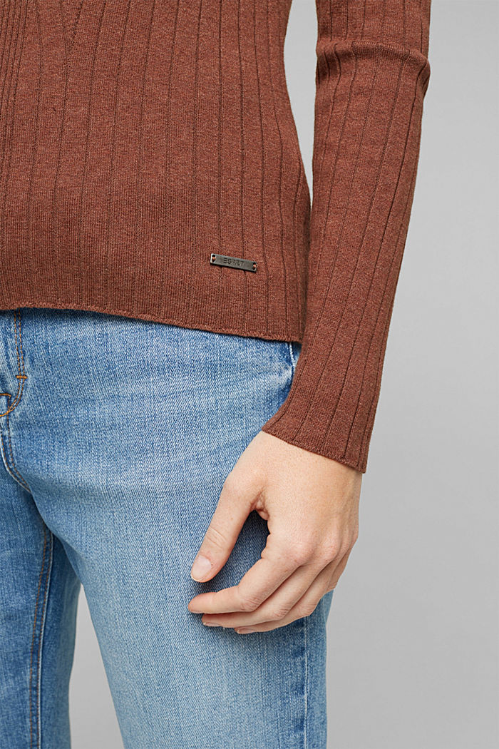 Ribbed jumper with organic cotton, BROWN, detail image number 5