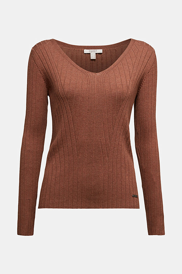 Ribbed jumper with organic cotton, BROWN, detail image number 6