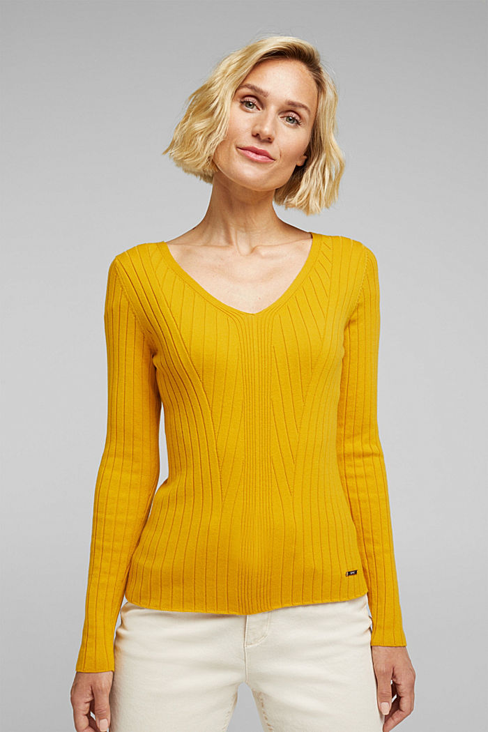 Ribbed jumper with organic cotton, BRASS YELLOW, detail image number 0
