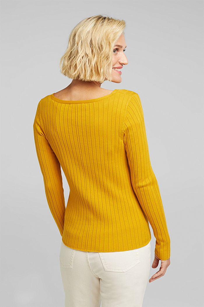 Ribbed jumper with organic cotton, BRASS YELLOW, detail image number 3