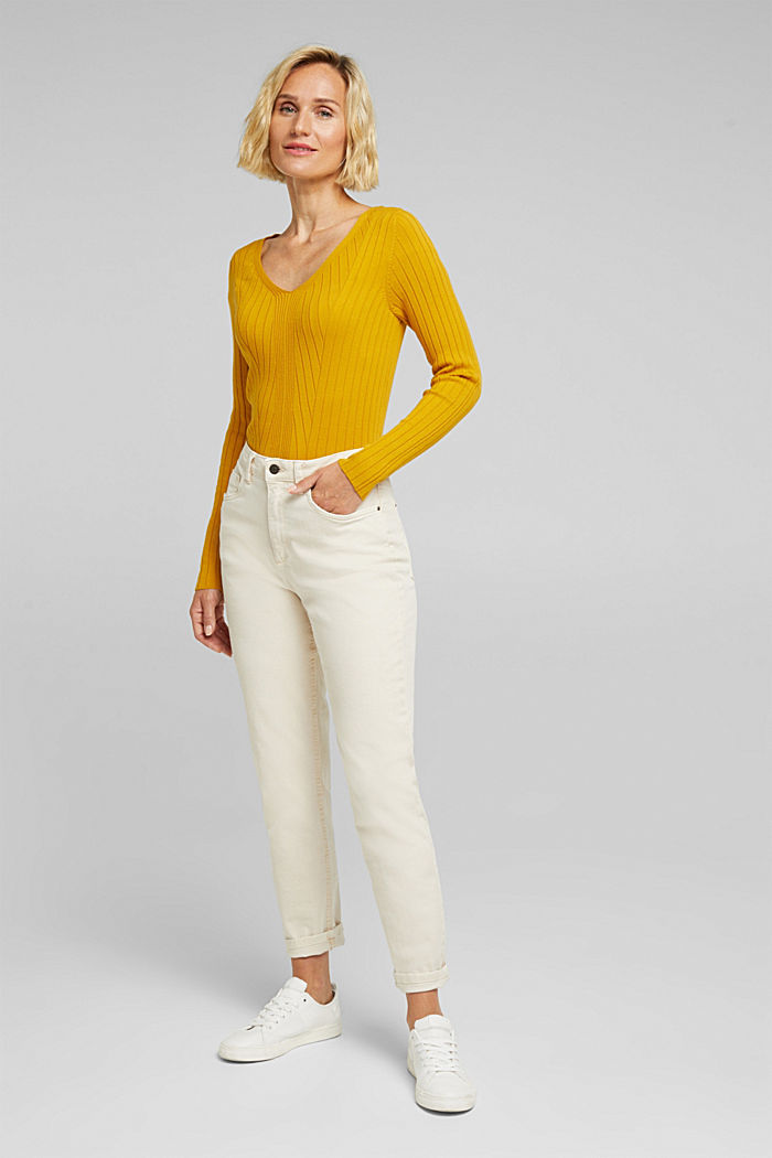 Ribbed jumper with organic cotton, BRASS YELLOW, detail image number 1