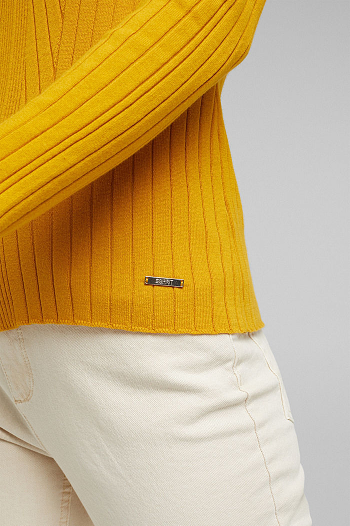 Ribbed jumper with organic cotton, BRASS YELLOW, detail image number 2