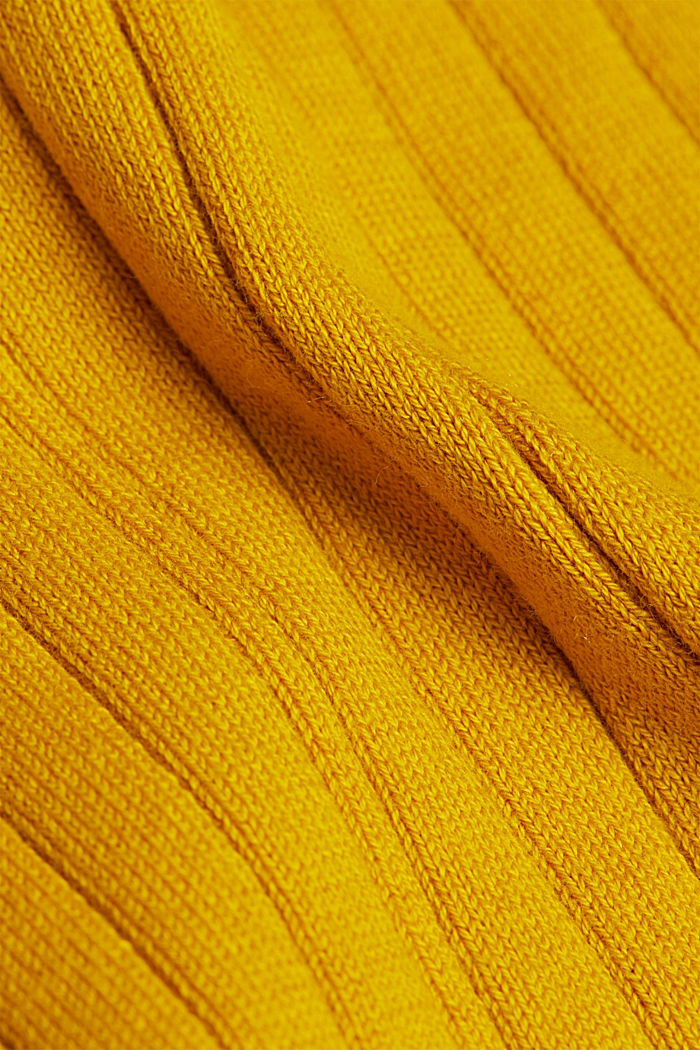Ribbed jumper with organic cotton, BRASS YELLOW, detail image number 4