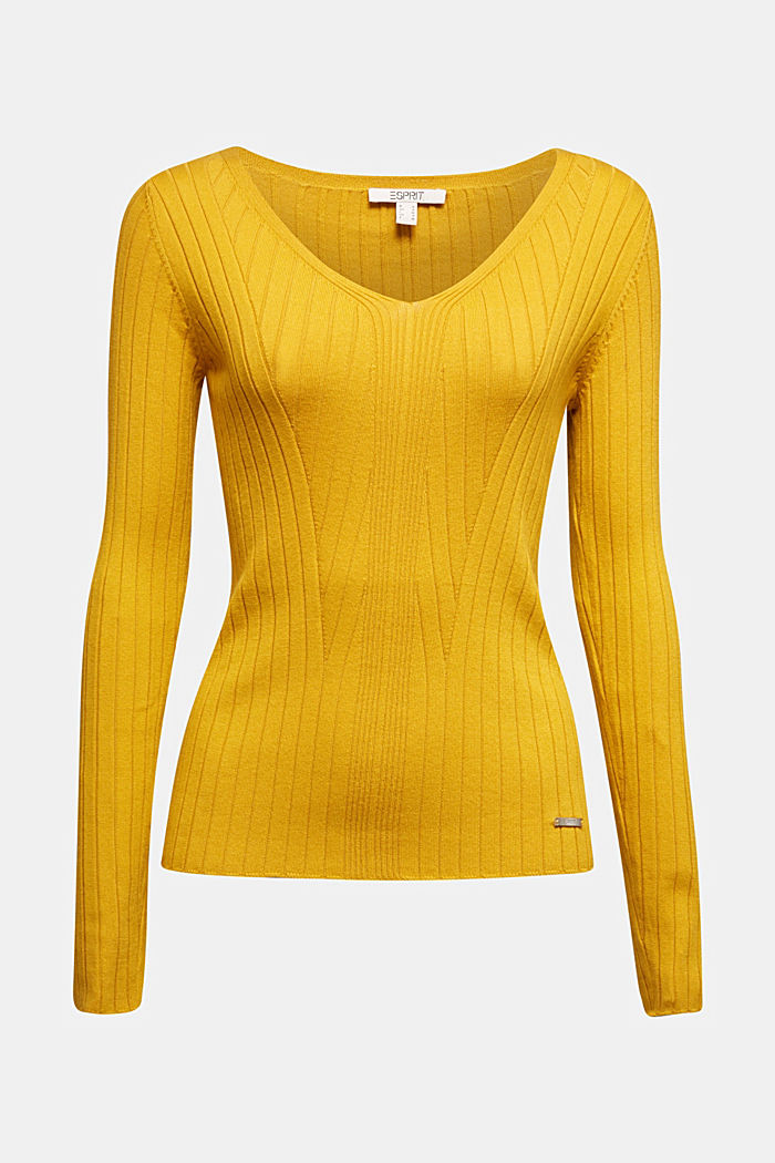Ribbed jumper with organic cotton, BRASS YELLOW, detail image number 5