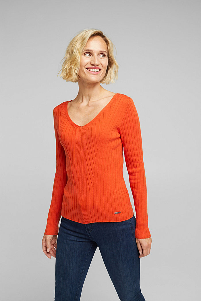 Ribbed jumper with organic cotton, RUST ORANGE, detail image number 0