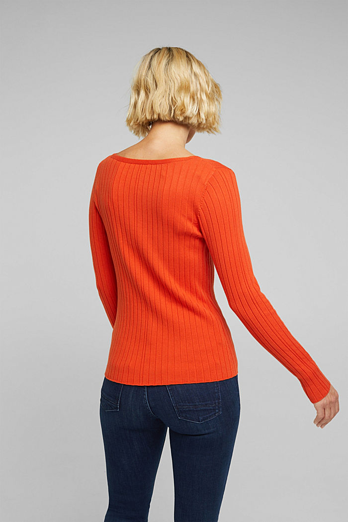 Ribbed jumper with organic cotton, RUST ORANGE, detail image number 2