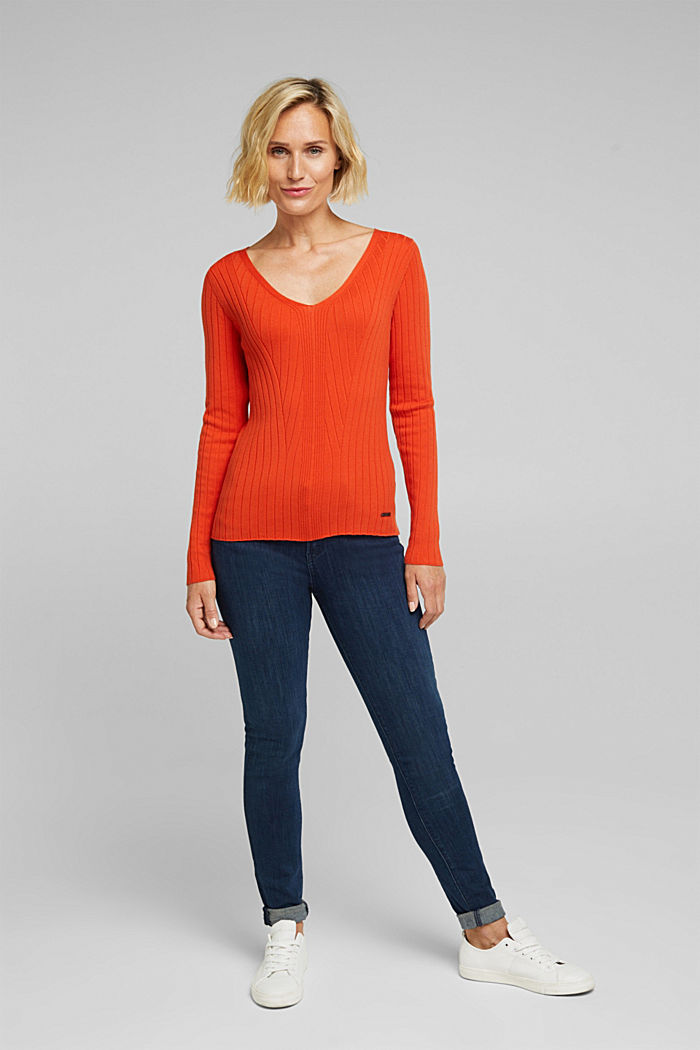 Ribbed jumper with organic cotton, RUST ORANGE, detail image number 1