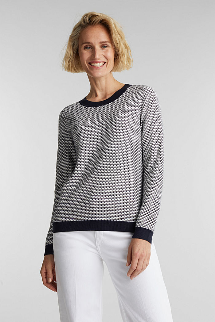 Jacquard jumper in a two-tone look, OFF WHITE, detail image number 0