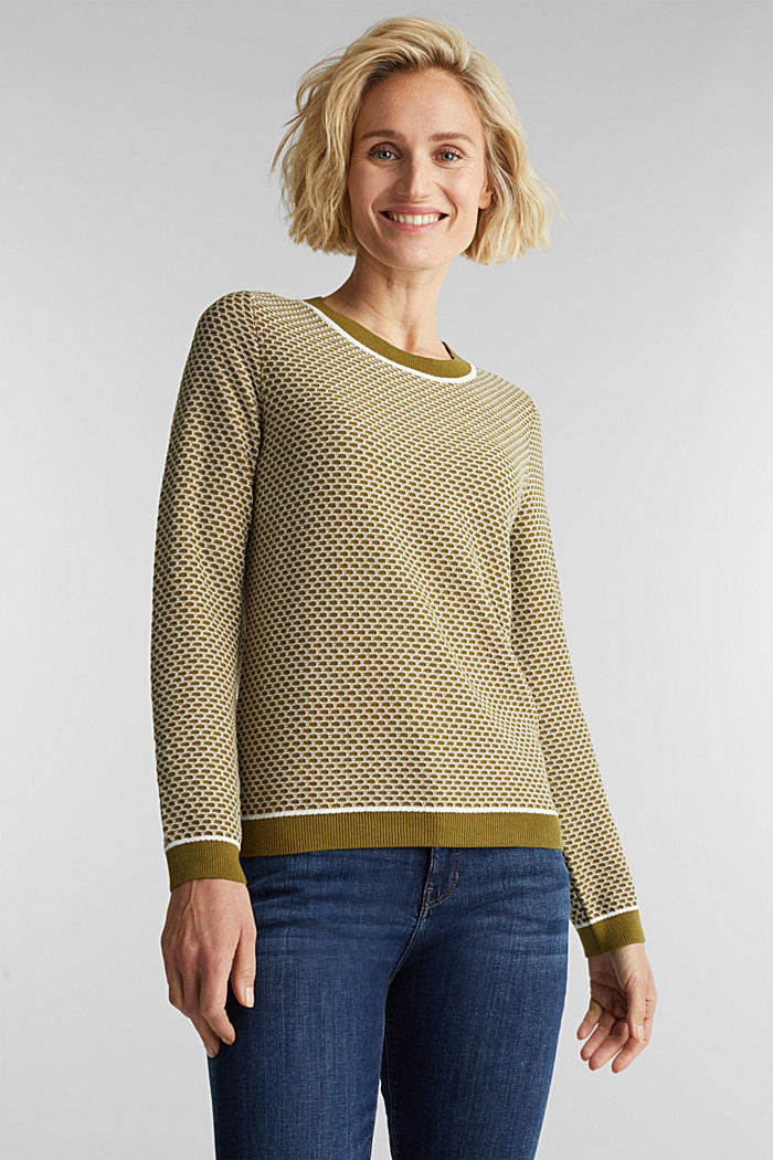 Jacquard jumper in a two-tone look, OLIVE, detail image number 0