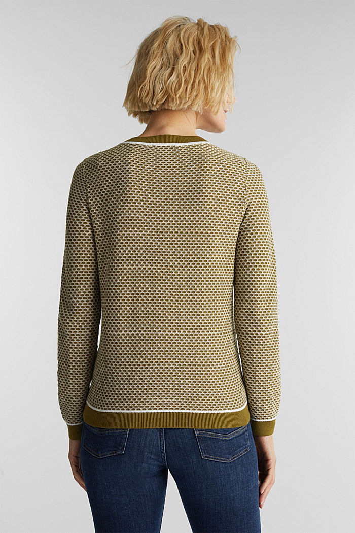 Jacquard jumper in a two-tone look, OLIVE, detail image number 3