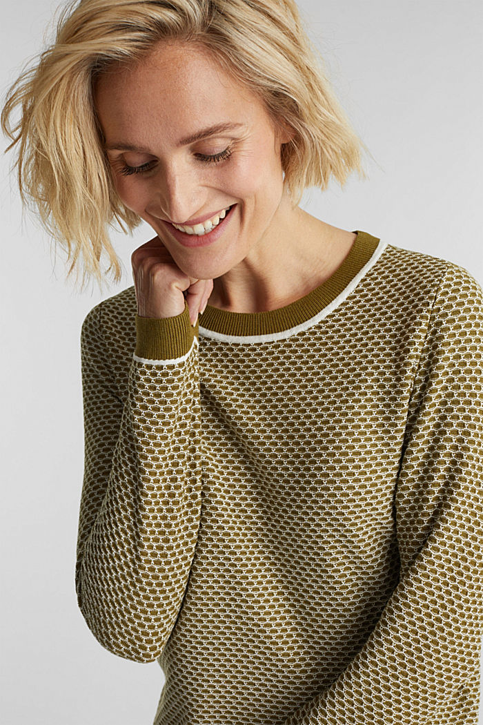 Jacquard jumper in a two-tone look, OLIVE, overview