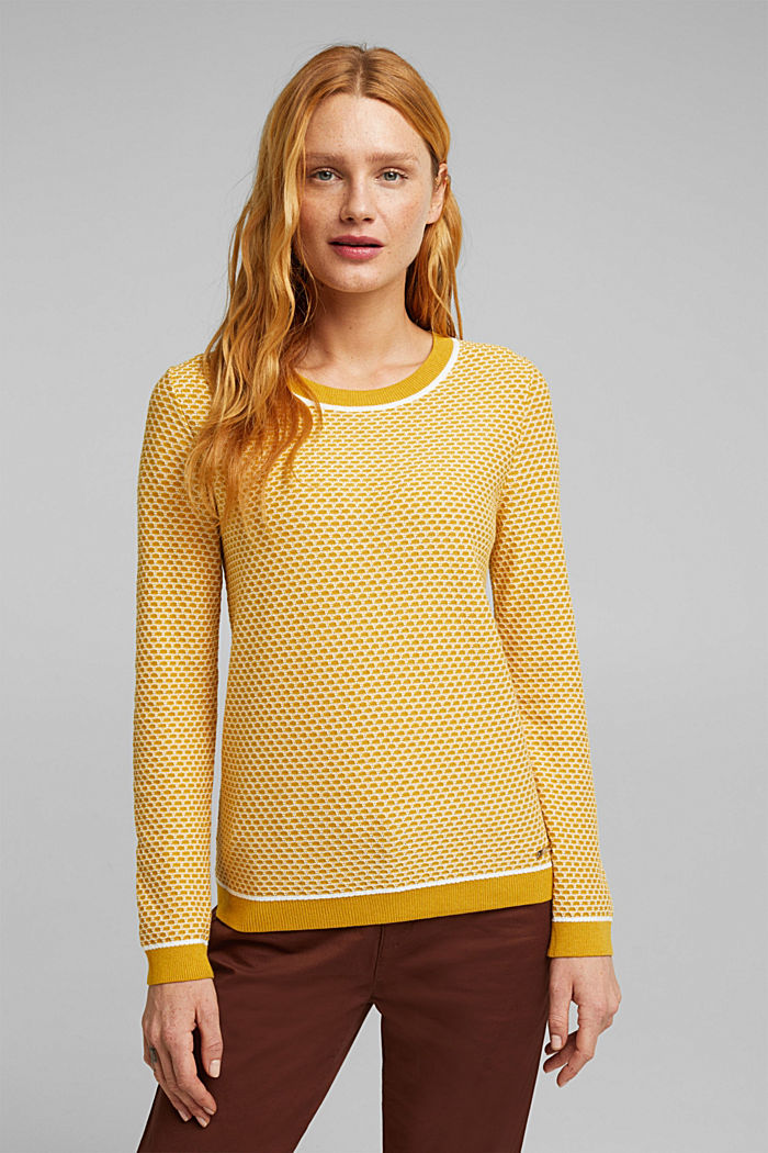 Jacquard jumper in a two-tone look, BRASS YELLOW, detail image number 0