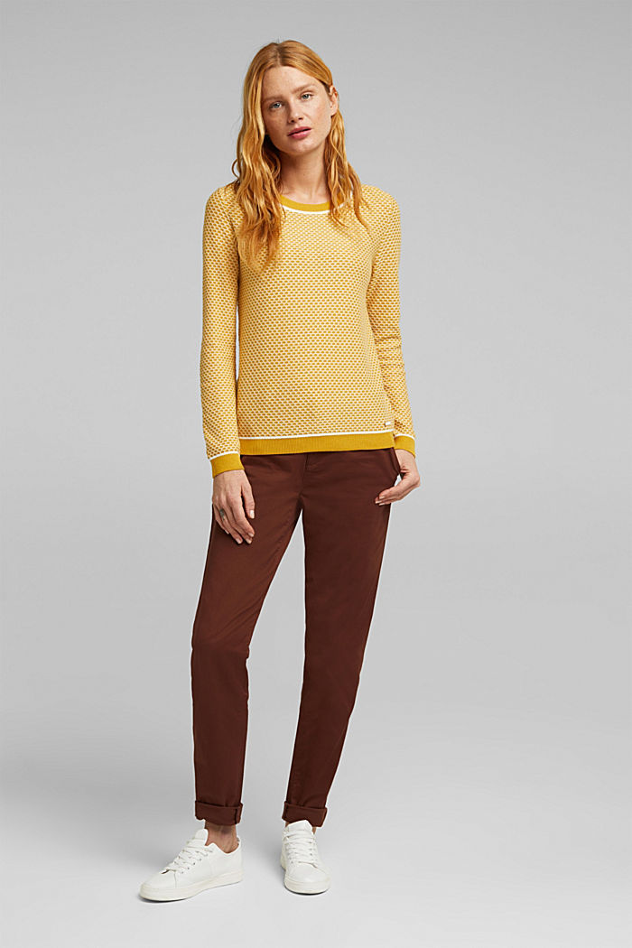 Jacquard jumper in a two-tone look, BRASS YELLOW, detail image number 1