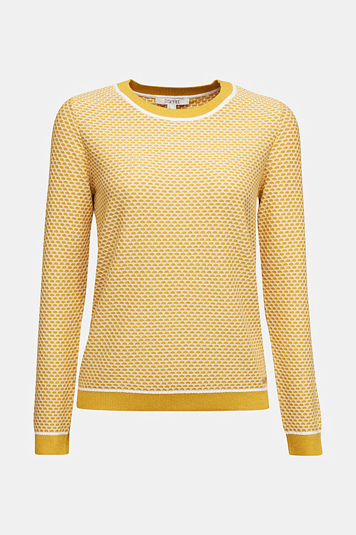 Jacquard jumper in a two-tone look, BRASS YELLOW, detail image number 5
