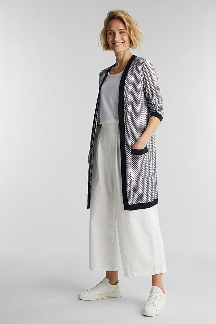 Long cardigan with organic cotton, OFF WHITE, detail image number 1