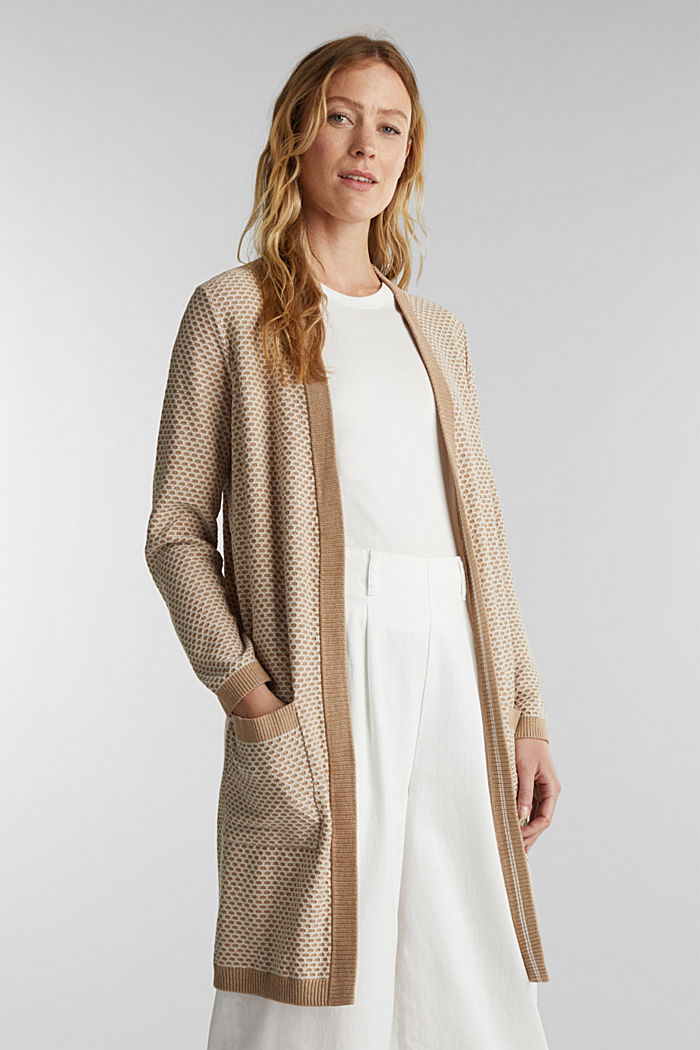 Long cardigan with organic cotton, BEIGE, detail image number 0