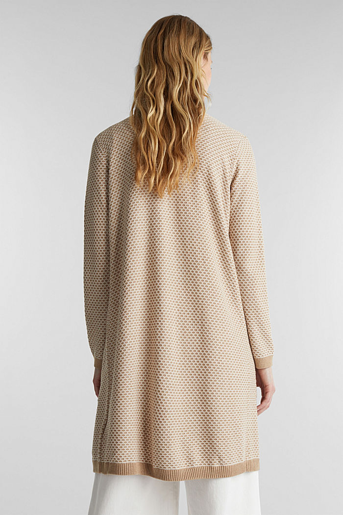 Long cardigan with organic cotton, BEIGE, detail image number 3
