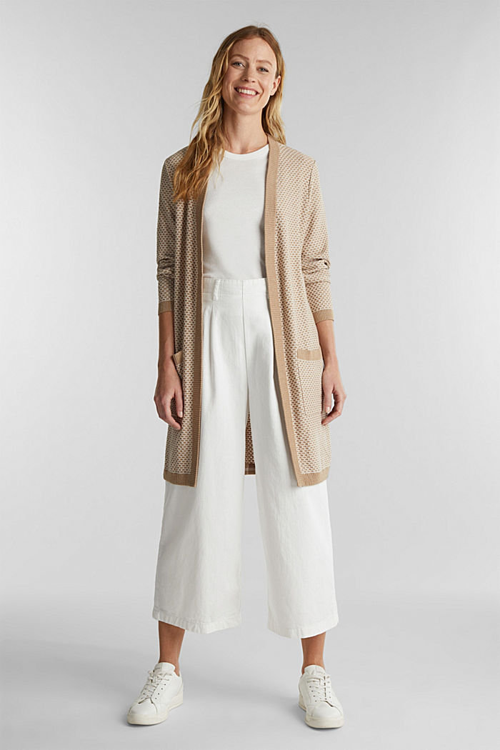 Long cardigan with organic cotton, BEIGE, detail image number 1
